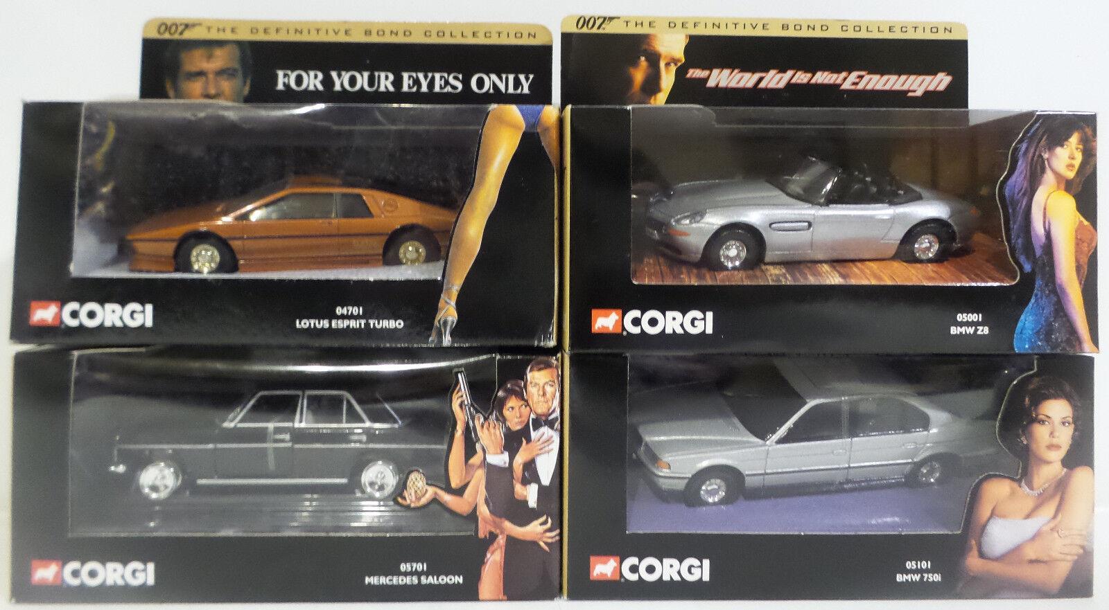 James Bond  Lotus Esprit turbo, BMW 750i, BMW Z8 y Mercedes Sedán Die Cast Set