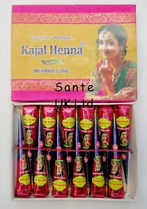 1 BOX OF 12 KAJAL ORGANIC DARK BROWN HENNA MENDHI CONES TUBES ***100% ORGANIC***