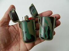 MINI BIC PLASTIC SPRING LOADED LIGHTER HOLDERS/COVERS CAMO GREEN DESIGN LOT OF 2