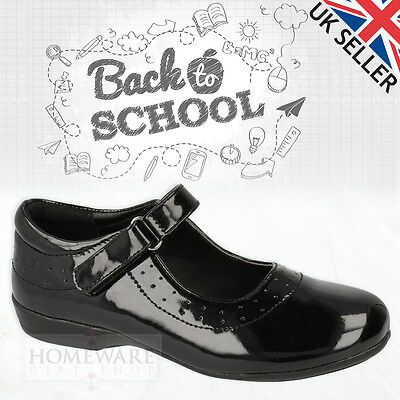 GIRLS SCHOOL SHOES BLACK LEATHER & MAN-MADE UPPER SHOE SIZE UK6 CHILD - UK8 NEW