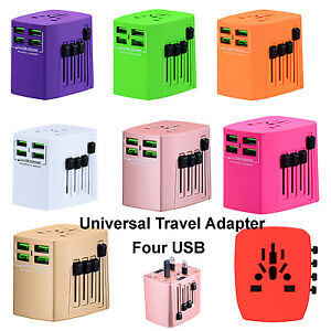 Universal Travel Adapter With Four USB Charger Wall AC Power