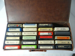 8-Track-Cartridge-Tapes-with-Vintage-Carrying-Case-Lot-23-Tapes-Untested-As-Is