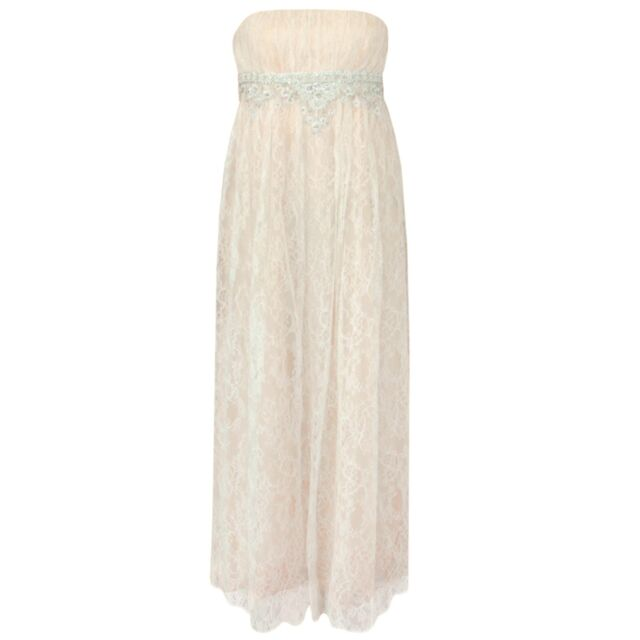 REEM ACRA beaded embroidered ivory lace strapless bridal gown wedding dress 10
