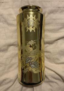 Vintage-Beautiful-Toyo-Japanese-Gold-Metallic-Pheasant-Floral-Vase
