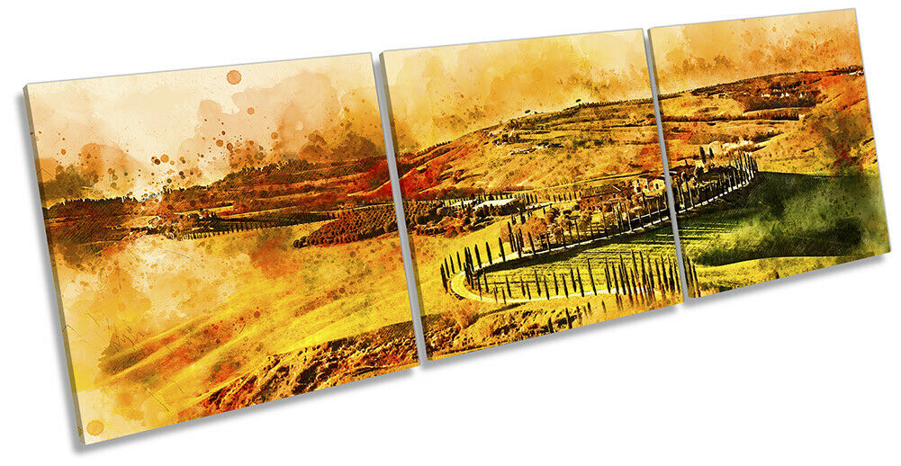 Tuscany Landscape Abstract Bild CANVAS Wand Kunst Triple Drucken Orange