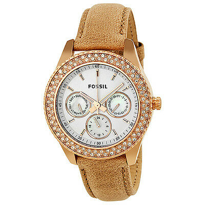 Fossil Stella GMT White Dial Rose Gold-tone Stainless Steel Ladies Watch ES3104