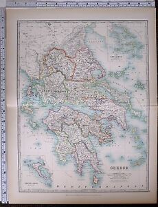 1903 LARGE MAP GREECE MOREA MESSENIA LACONIA ARCADIA LARISSA
