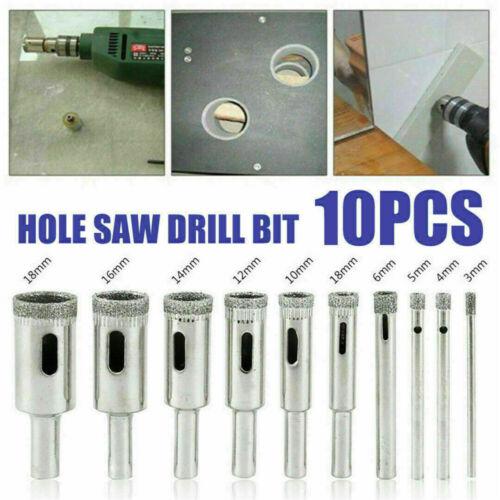 10pcs 3mm-18mm Diamond Tool Drill Bit Hole Saw Kit for Glass Ceramic Marble Tile
