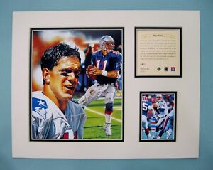 New England Patriots DREW BLEDSOE 1996 Football 11x14 Matted Kelly Russell Print