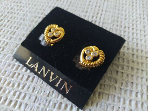 Vintage Lanvin Heart Earrings Gold Platted With W… - image 1