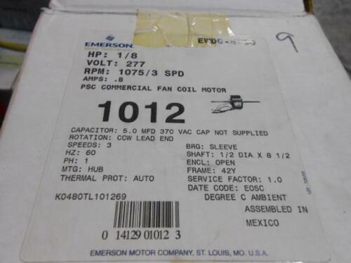 EMERSON K48ZZTL-1012 1//8 HP CCW LEAD END DOUBLE SHAFT ELECTRIC MOTOR 277//60//1