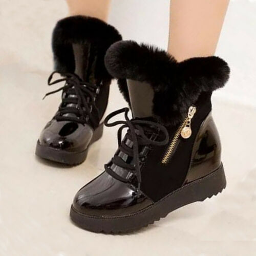 Womens Fur Snow Boots Lace Up Leather Mid Calf Wedge Ankle zip Shoes Winter Warm