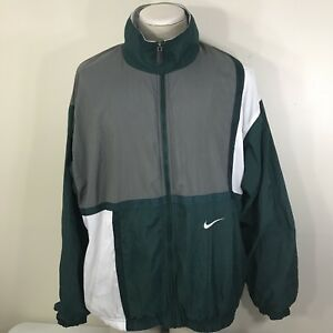 ea6f34165d24 VTG 90s Nike Full Zip Men s Windbreaker Color Block Jacket Green 2XL ...
