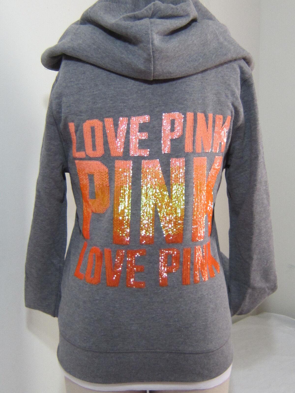 BLING Victoria Secret Pink OMBRE orange Sequin ZIP SWEATSHIRT HOODIE XS PERFECT