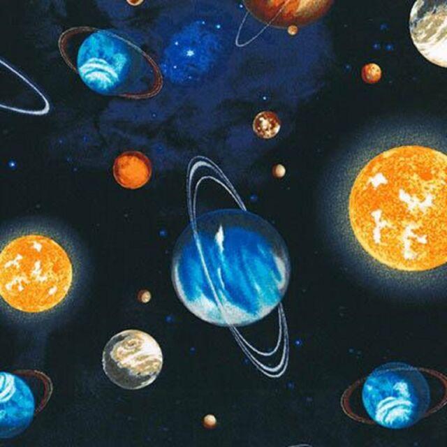 Space Fabric Stargazers Royal Planets 100% Cotton  Children 1/2 Mtr