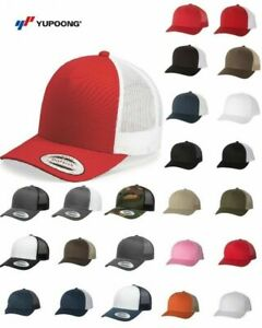 Image is loading Yupoong-Classic-Blank-Retro-Cotton-Trucker-Mesh-Cap- f9718df249e