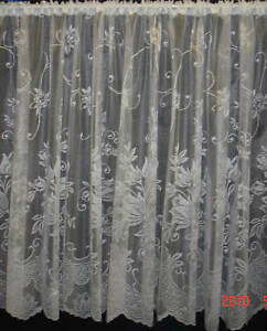 Image Is Loading Turin Net Curtain White Floral Design 9 Sizes