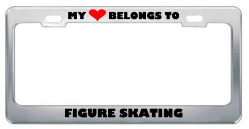 My Heart Belongs To Figure Skating Hobby Sport Metal License Plate Frame Tag