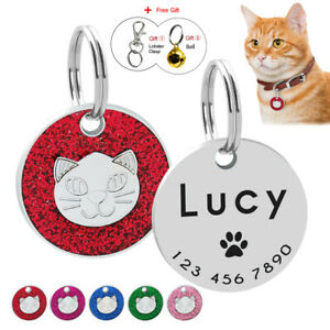 Cute-Face-Cat-Tag-Engraved-Personalised-Pet-Kitten-ID-Collar-Tags-amp-Name-Number