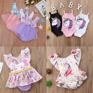 efeefe4aa580 Unicorn Toddler Kids Baby Girl Lace Tutu Dress Romper Jumpsuit ...