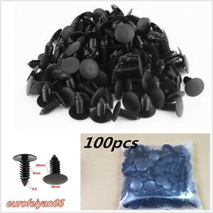 100-Pcs-Black-Nylon-Plastic-Autos-Fender-Moulding-Rivets-Trim-Fastener-Clips-8mm