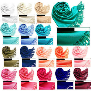 Pashmina-Cashmere-Silk-Solid-Shawl-Wrap-Unisex-Long-Scarves-Solid-colored