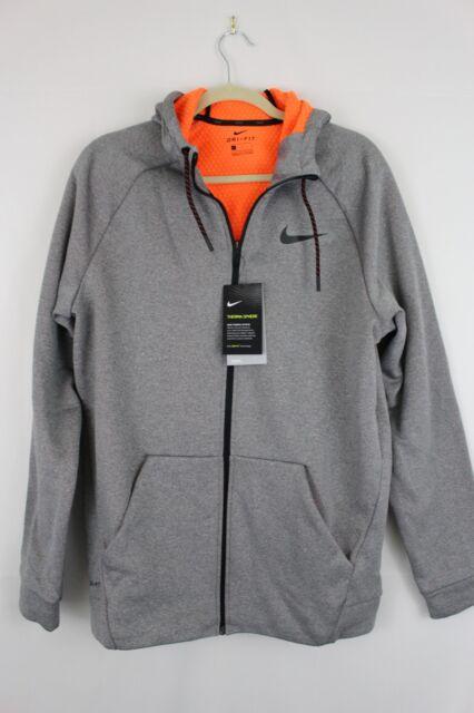 5bfb50ffa7 NWT NIKE THERMA SPHERE REPEL Full Zip Hooded Jacket 860511 Grey Orange Mens  2XL