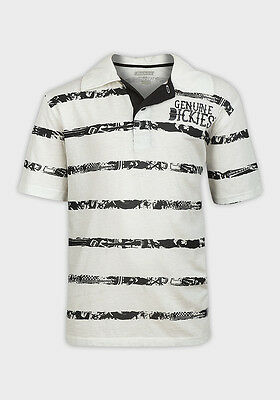 Boys White and Black Stripes Detail Polo Shirt Top ages 8 10 12 14 16 18 Years