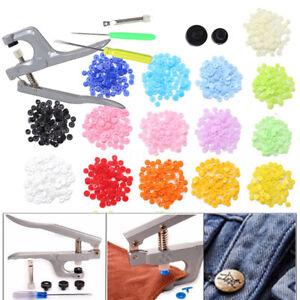 150-Bottoni-a-Pressione-15-Colori-Bottoni-Automatici-Plastica-Fasteners-o-Pinze