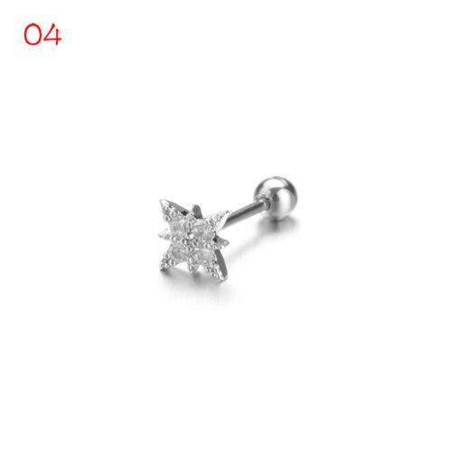 Helix Tragus  Stud Earrings CZ Ear Piercing  Body Jewelry Silver Color