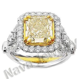 3 67 Ct Canary Fancy Yellow Diamond Engagement Ring Ebay