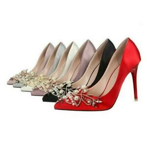 Women-Bridal-Shoes-Pearl-Satin-High-Heels-Rhinestones-Stilettos-Party-Pumps-Size