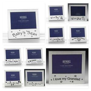 Satin-Silver-Occasion-Photo-Frame-14x13cm-Nan-Dog-Baby-Cat-Grandad-Twins-School