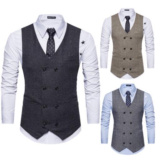Men/'s Double Breasted V Neck Slim Fit Waistcoat Gilet Business Suit Formal Vest