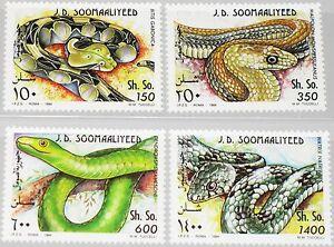 SOMALIA-1994-528-31-Schlangen-Snakes-Kriechtiere-Viper-Mamba-Ringelnatter-MNH