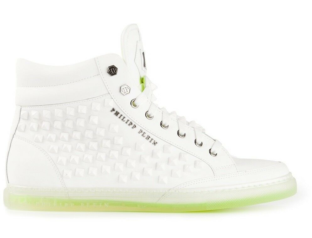 PHILIPP PLEIN 'AVANT' WHITE EMBELLISHED STUDDED HI-TOP SNEAKERS SIZE 39/40