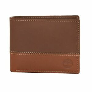 8f82cc646 Timberland Men's LEATHER HUNTER TWO-TONE Commuter Wallet Brown/Tan ...