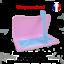 miniature 1 - Boite-de-rangement-rose-et-attache-bleue-pour-masque