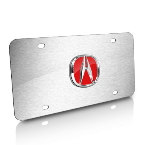 Acura 3D Red Logo Brushed Stainless Steel License Plate