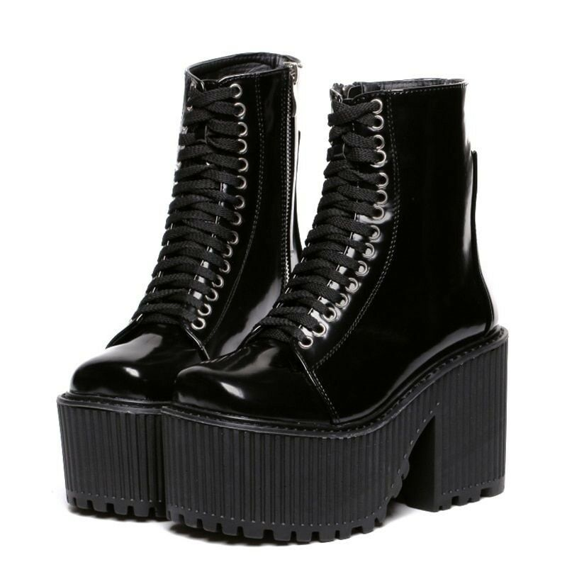 Fashion Ankle Boots Women Platform Punk Gothic Style Rubber Sole Lace Up shoes