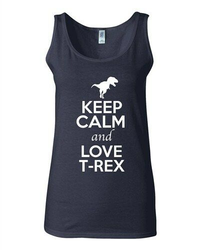 Junior Keep Calm And Love T-Rex Dinosaur Dino Animal Lover Sleeveless Tank Tops