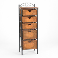 Iron/wicker Five Drawer Unit