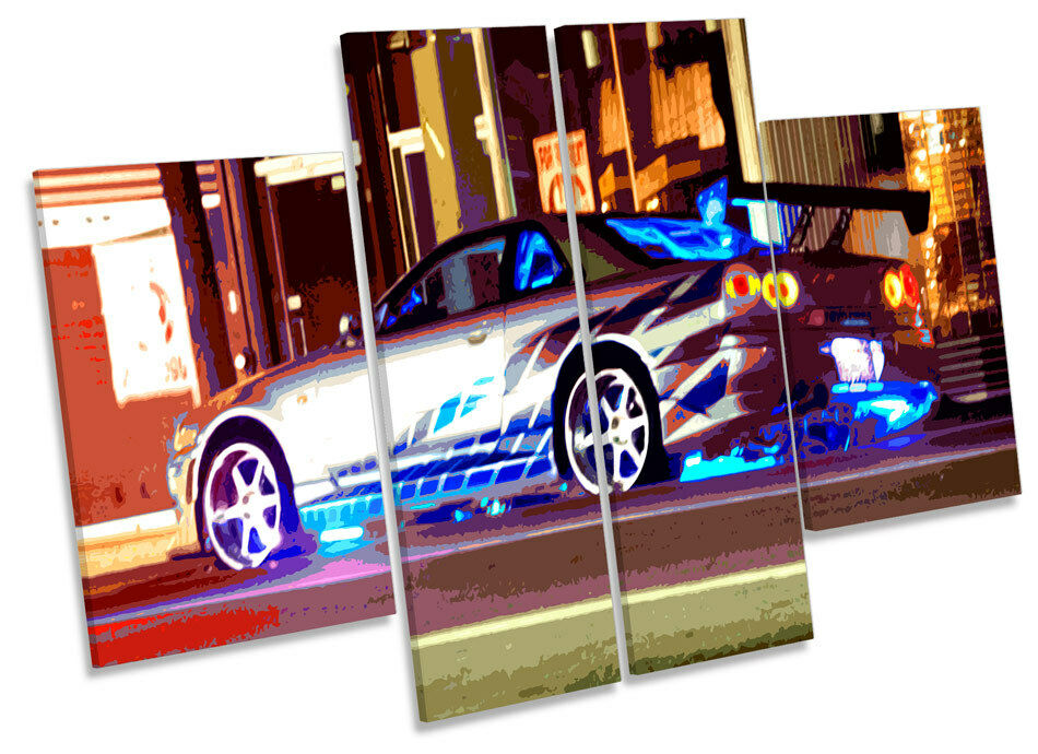 The Fast and Furious Car CANVAS Wand Kunst MULTI Panel Drucken Bild