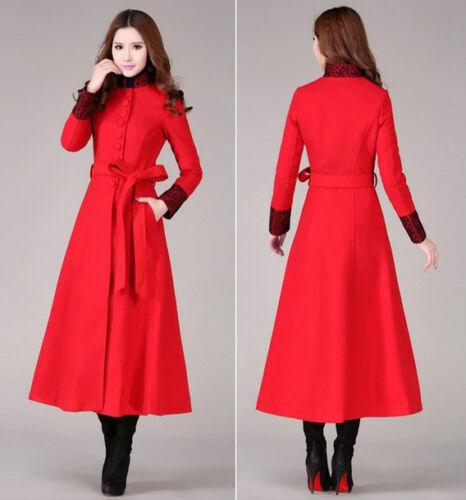Womens Wool Blend Military Parkas Coats Belt Long Jackets Trench Full Length HOT