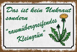 Unkraut .. Kleingrün Garten Blechschild Schild Tin Sign 20 x 30 cm FA1224
