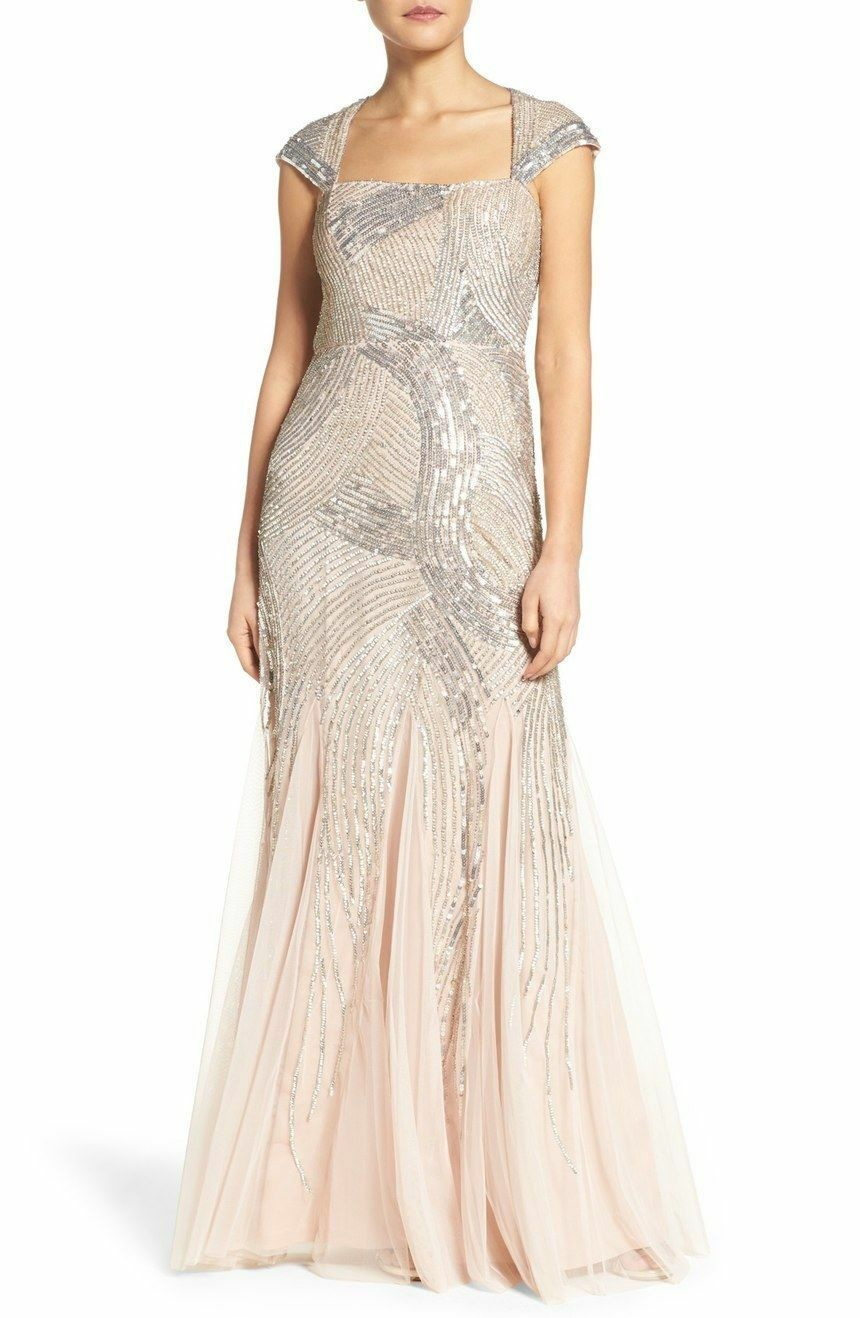 Adrianna Papell New Womens Cap Sleeve Fully Beaded Gown   12     340