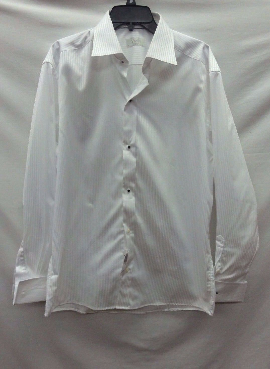 Eton Classic Fit Men's Striped White Shirt, Size 16