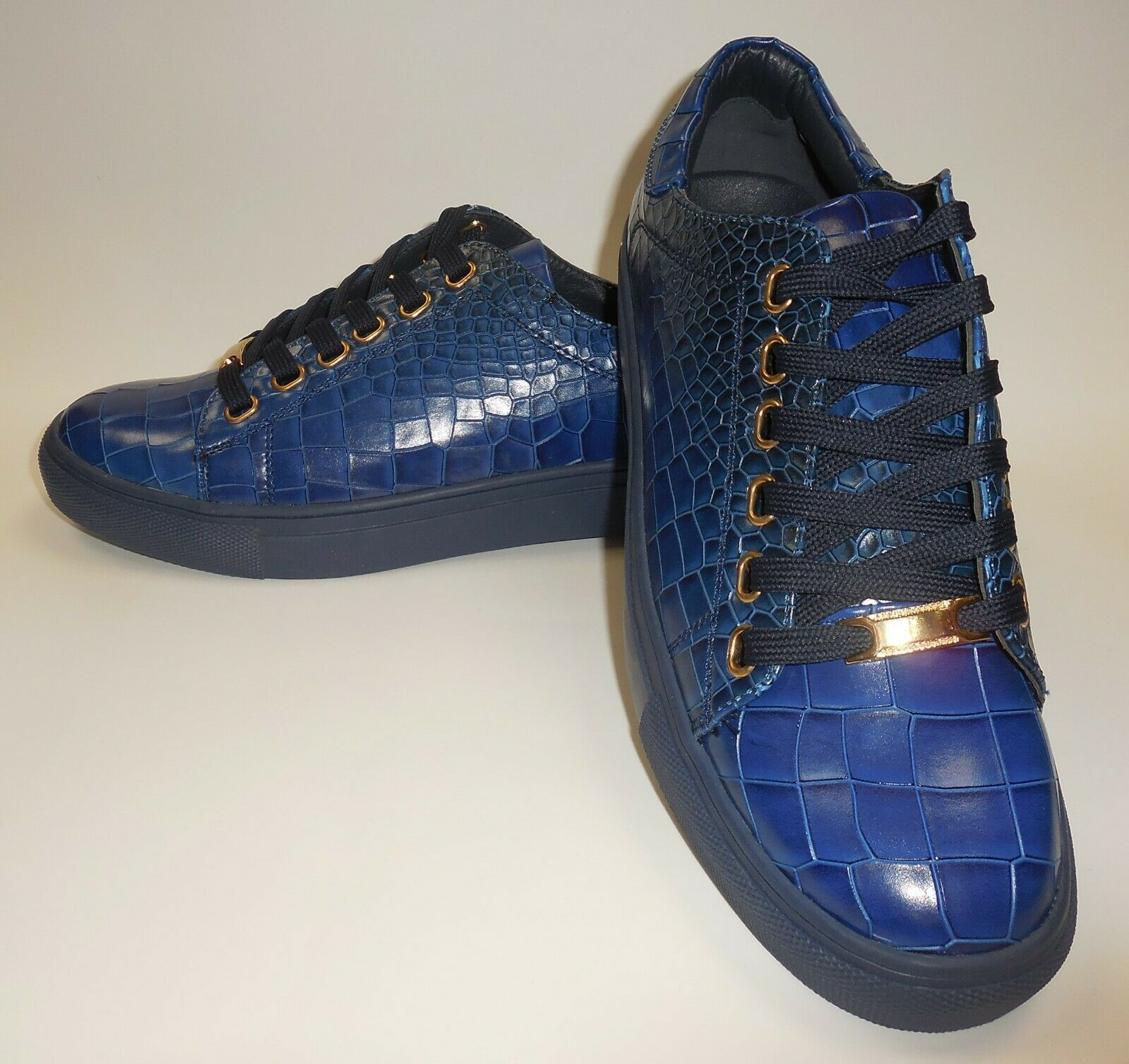 Mens Cool Royal bluee Croco Embossed Dress Sneakers Rubber Sole NY718 6730