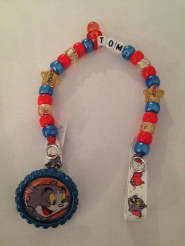 Tom and Jerry - - Handmade Personalised Dummy Clips Any Name