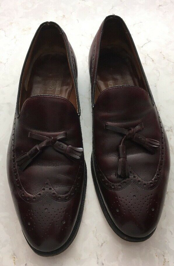 Aristocraft Johnston Murphy Burgundy Wingtip Tassels Leather Shoes  Sz 14
